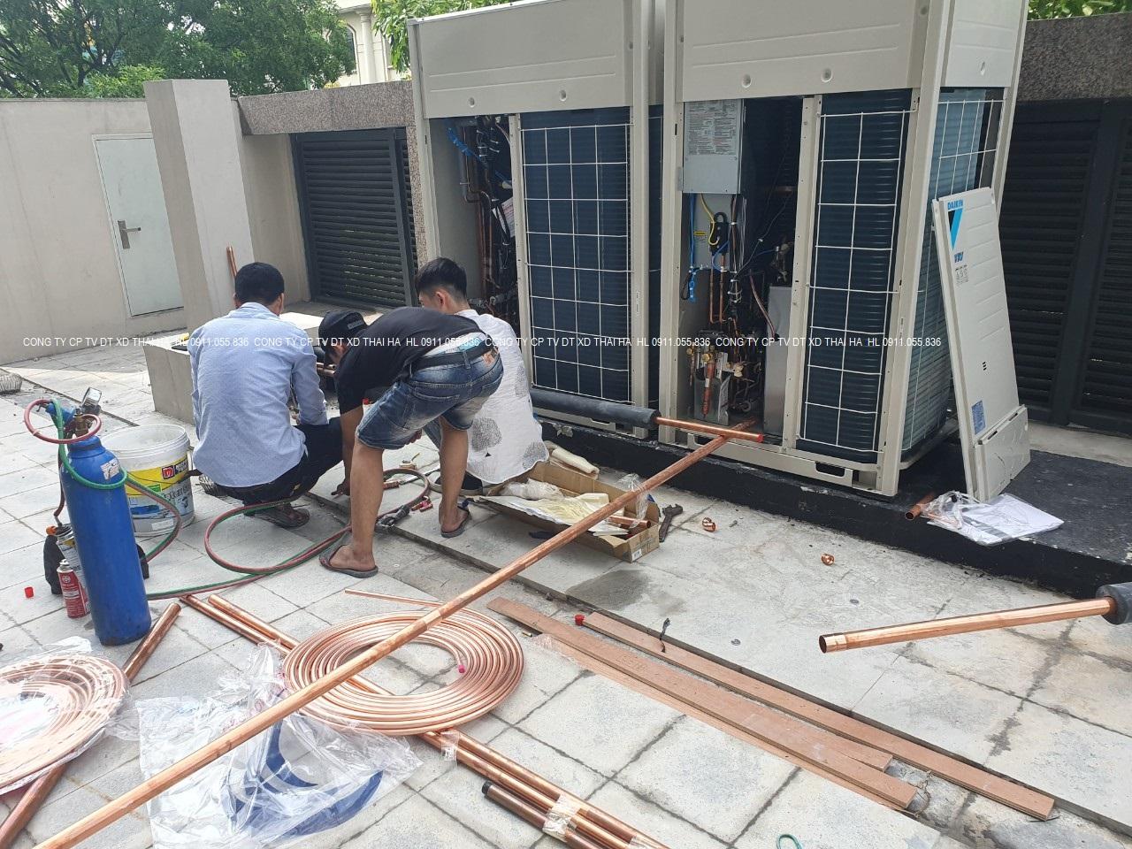 Kết nối ống gas dàn nóng trung tâm